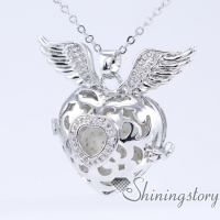 cz zircon heart and wings heart locket jewellery lockets locket necklace for girlfriend cheap heart lockets wholesale essential oil diffusers