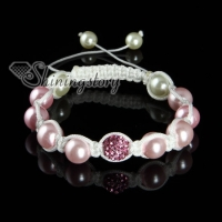 disco ball pave beads and pearl macrame bracelets white cord