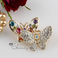 double butterfly rhinestone scarf brooch pin jewelry