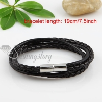 double layer magnetic buckle genuine leather bracelets