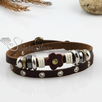 double layer with alloy genuine leather bracelets