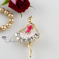 enameled ballet dancer rhinestone scarf brooch pin
