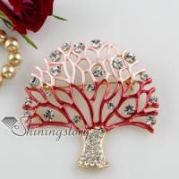 enameled tree rhinestone scarf brooch pin jewelry