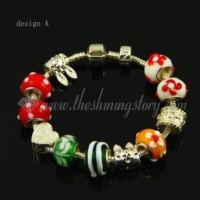 european charms bracelets with lampwork glass large hole beads