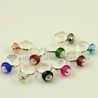 european crystal beads free size finger rings jewelry