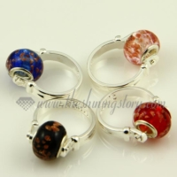 european glitter murano glass beads finger rings jewelry