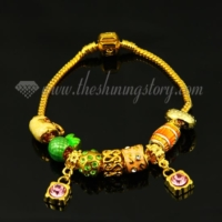 european gold charms bracelets with enamel beads
