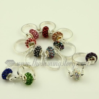 european rhinestone big hole beads finger rings jewelry