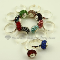 european rhinestone beads free size finger rings jewelry