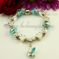 european silver charms bracelets with crystal big hole beads