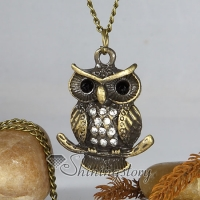 fat night owl antique long chain pendants necklaces