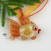 fish flowers inside itailian lampwork murano glass necklaces pendants