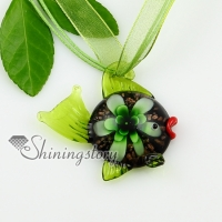 fish flowers inside lampwork murano italian venetian handmade glass necklaces pendants