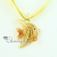 fish flowers inside murano lampwork glass venetian necklaces pendants