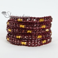five layer crystal gold beaded leather wrap bracelets