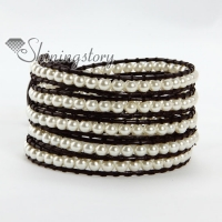 five layer pearl bead beaded leather wrap bracelets