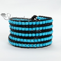 five layer stone bead beaded leather wrap bracelets