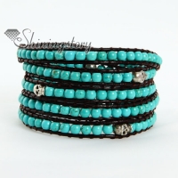 five layer turquoise bead beaded leather wrap bracelets