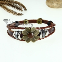 flower charm genuine leather wrap bracelets unisex