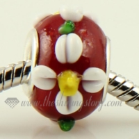 flower murano glass big hole beads for fit charms bracelets