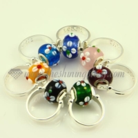 flower murano glass european beads finger rings jewelry