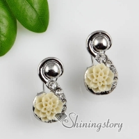 flower plastic cement and crystal rhinestone earrings stud ear pins