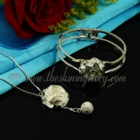flower rose necklaces and snap bangle bracelets jewelry sets