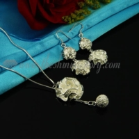 flower rose toggle necklaces and earrings jewelry sets