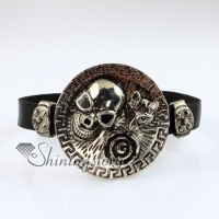 flower skull fox fleur de lis snap wrap bracelets genuine leather