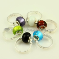 foil murano glass big hole beads finger rings jewelry
