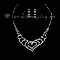 formal wedding bridal rhinestone heart necklaces and earrings