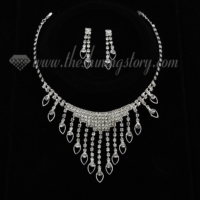 formal wedding bridal rhinestone tassel necklaces and earrings