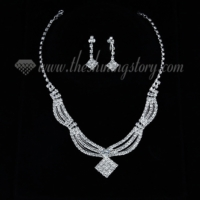 formal wedding bridal rhinestone wave chain jewelry sets