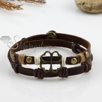 four clover two layer with alloy genuine leather bracelets