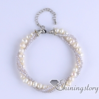 freshwater pearl bracelet with crystal beads boho jewelry wholesale bohemian jewellery australia