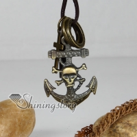 genuine leather brass cross anchor skull pendant adjustable long necklaces