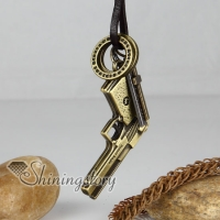 genuine leather brass gun cross interlock pendant adjustable long necklaces