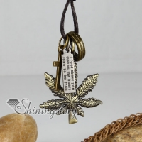 genuine leather bronze hemp leaf cross pendant adjustable long necklaces