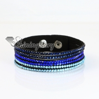 genuine leather crystal rhinestone wrap slake bracelets wristbands adjustable