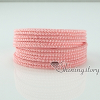 genuine leather freshwater pearl double layer wrap slake bracelets wristbands bracelets