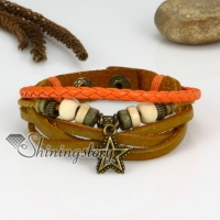 genuine leather multi layer star charm wrap bracelets