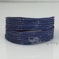 genuine leather rhinestone double layer wristbands slake bracelets wrap bracelets