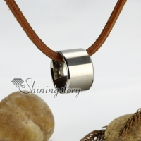 genuine leather stainless steel stripe round necklaces with ring pendant antique punk gothic styole