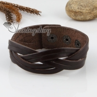 genuine leather woven buckle wristbands bracelets unisex