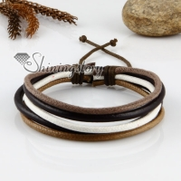 genuine leather wristbands adjustable drawstring multi layer bracelets unisex