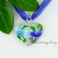 glass heart pendants italian murano glass flowers inside necklaces with pendants