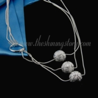 glitter ball 925 sterling silver plated toggle necklaces jewelry