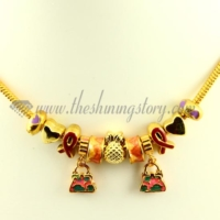 gold charms necklaces with european enamel big hole beads