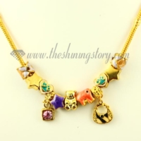 gold charms necklaces with european murano glass big hole beads