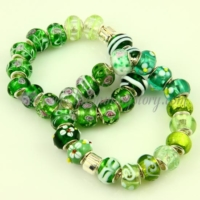 green murano glass large hole beads for fit charms bracelets